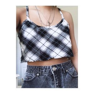 Plaid Cropped and Distressed Blouse